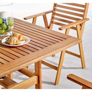 "Hatteras Outdoor Patio Eucalyptus Wood Dining Set with 36"" Square Table"
