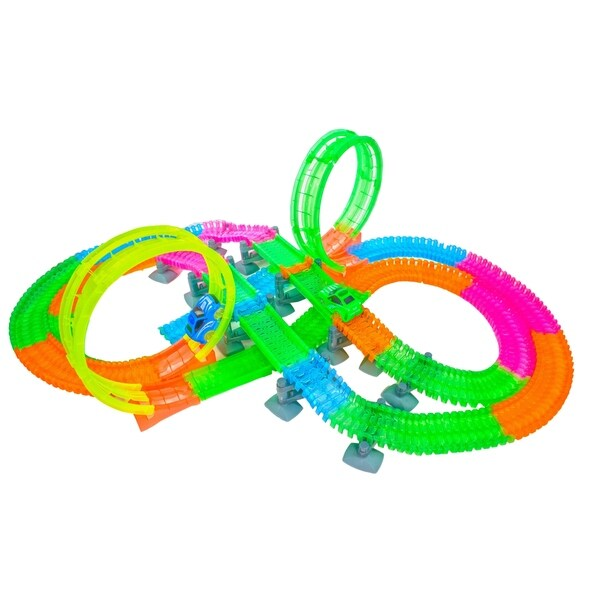 Magical Twisting Glow in the Dark Light Up Race Car Tracks - Ultimate Loop Racing Set -420 pcs - 25ft of Track - N/A. Opens flyout.