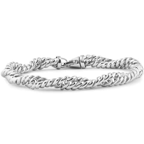 "14K White Gold Classic Italian High Polished Twisted Link Bracelet 7.5"""