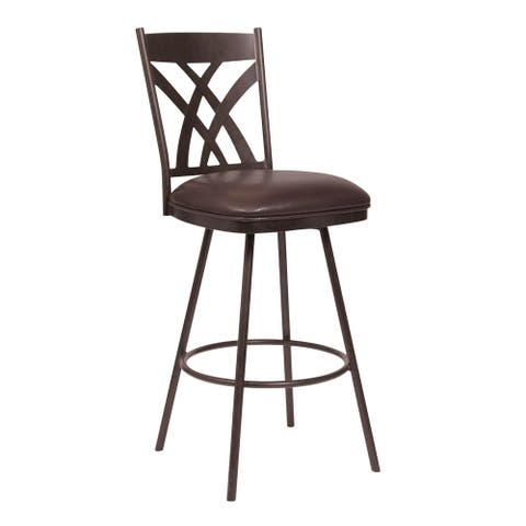 """Dover 30"""" Bar Height Barstool in Auburn Bay and Brown Faux Leather"""
