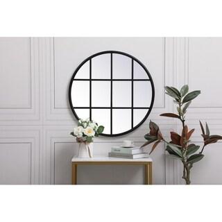 Round Metal Windowpane Mirror