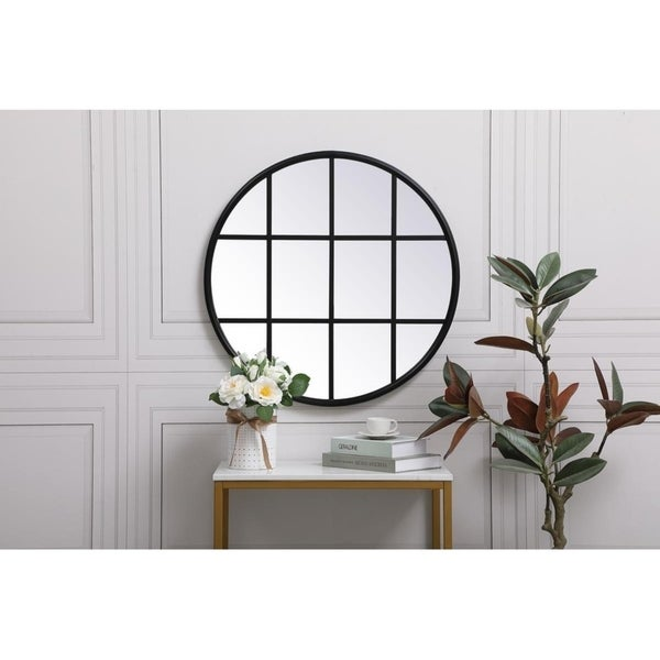 Round Metal Windowpane Mirror