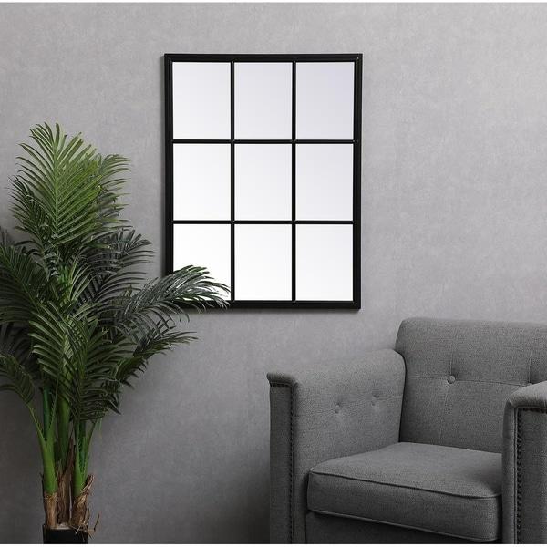 Rectangular Metal Windowpane Mirror
