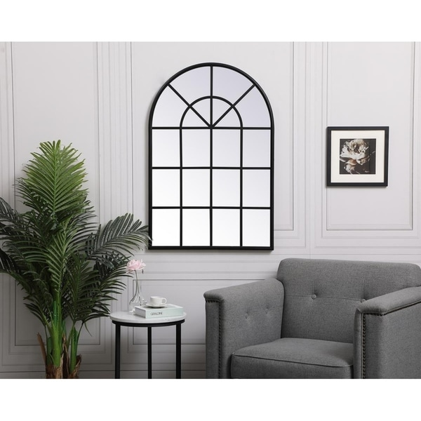 Arched Metal Windowpane Mirror