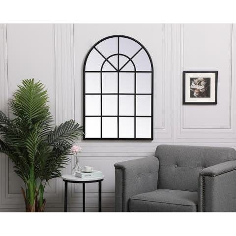 Carson Carrington Ladufallet Arched Metal Windowpane Mirror