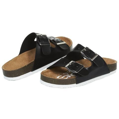 bebe Girls Big Kid Two Buckle Strap Cork Footbed Slide Sandals