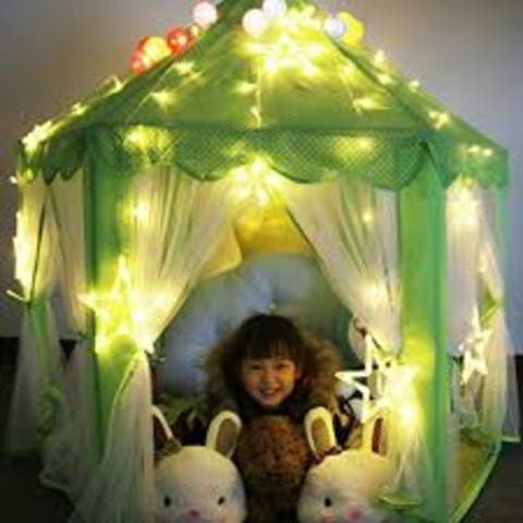 """55""""x 53"""" Princess Castle Play Tent for Girls with LED Star String Lights(Green) - 1"""