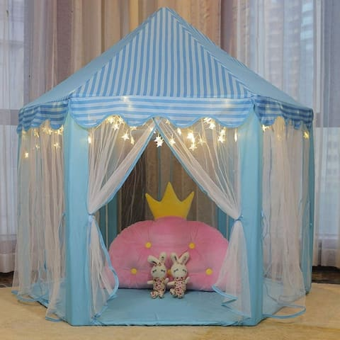 """55""""x 53"""" Princess Castle Play Tent for Girls with LED Star String Lights(Blue) - 1"""