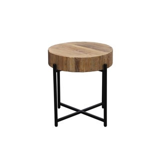 Fireside Black Iron and Reclaimed Elm Round End Table