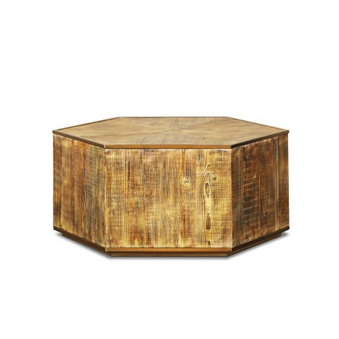Hex Reclaimed Hardwoods and Brass Hexagon Coffee Table