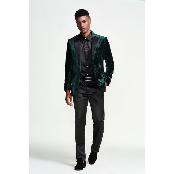 Designer Jacket Texture Satin Peak Lapel Slim Fit Mens Blazer Jackets