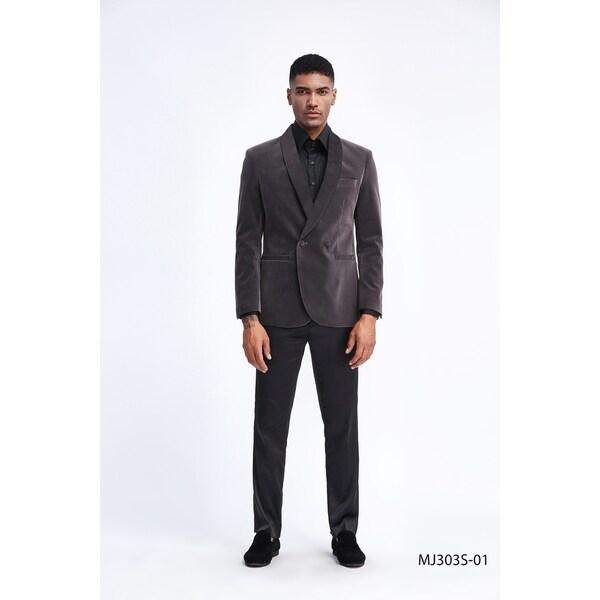 Fashion Jacket Mens Velvet Slim Fit Satin Shawl Stylish Blazer Jackets