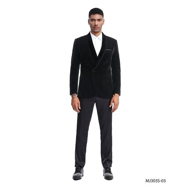 Fashion Jacket Velvet Shawl Mens Slim Fit Stylish Blazer Jackets