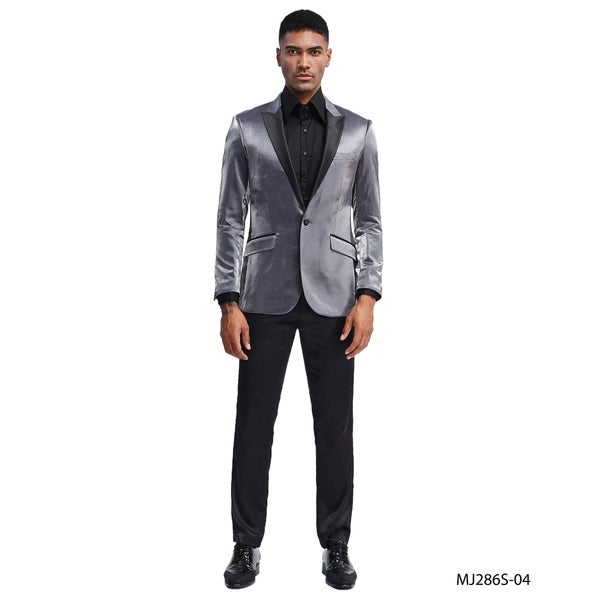 Mens Fashion Jacket Solid Peak Lapel Stylish Blazer Jackets