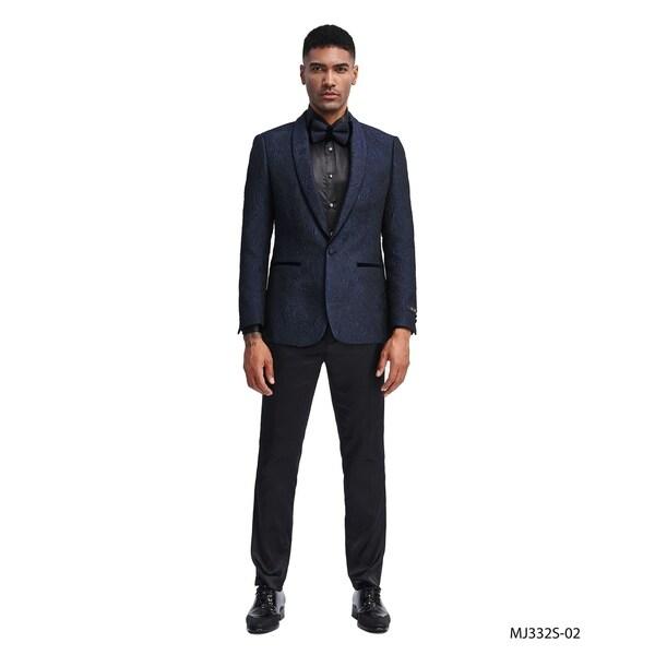 Fashion Jacket Navy Textured Stylish Slim Fit Shawl Blazer Jackets