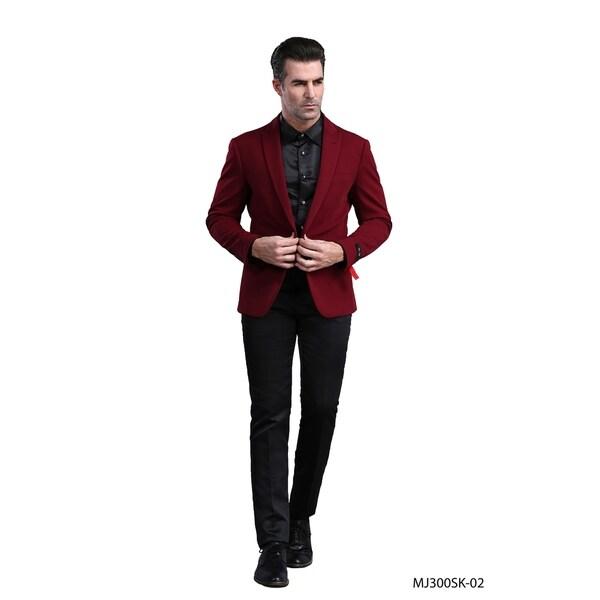 Mens Jacket Burgundy Peak Solid Slim Fit Stylish Blazer Jackets by  New Design