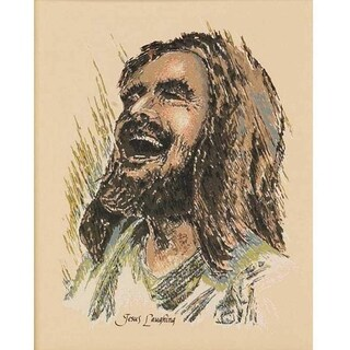 "Joyful Laughing Jesus Wood Sign 8"" x 10"""