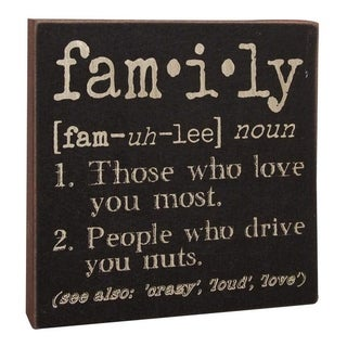 "Family Definition Wood Sign 6"" x 6"""