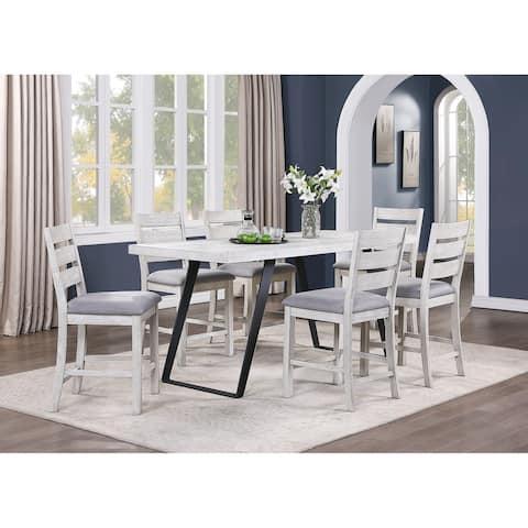 "Somette Aspen Court II Herringbone White Rub Counter Height Dining Table - 34""W x 80""L x 36""H"