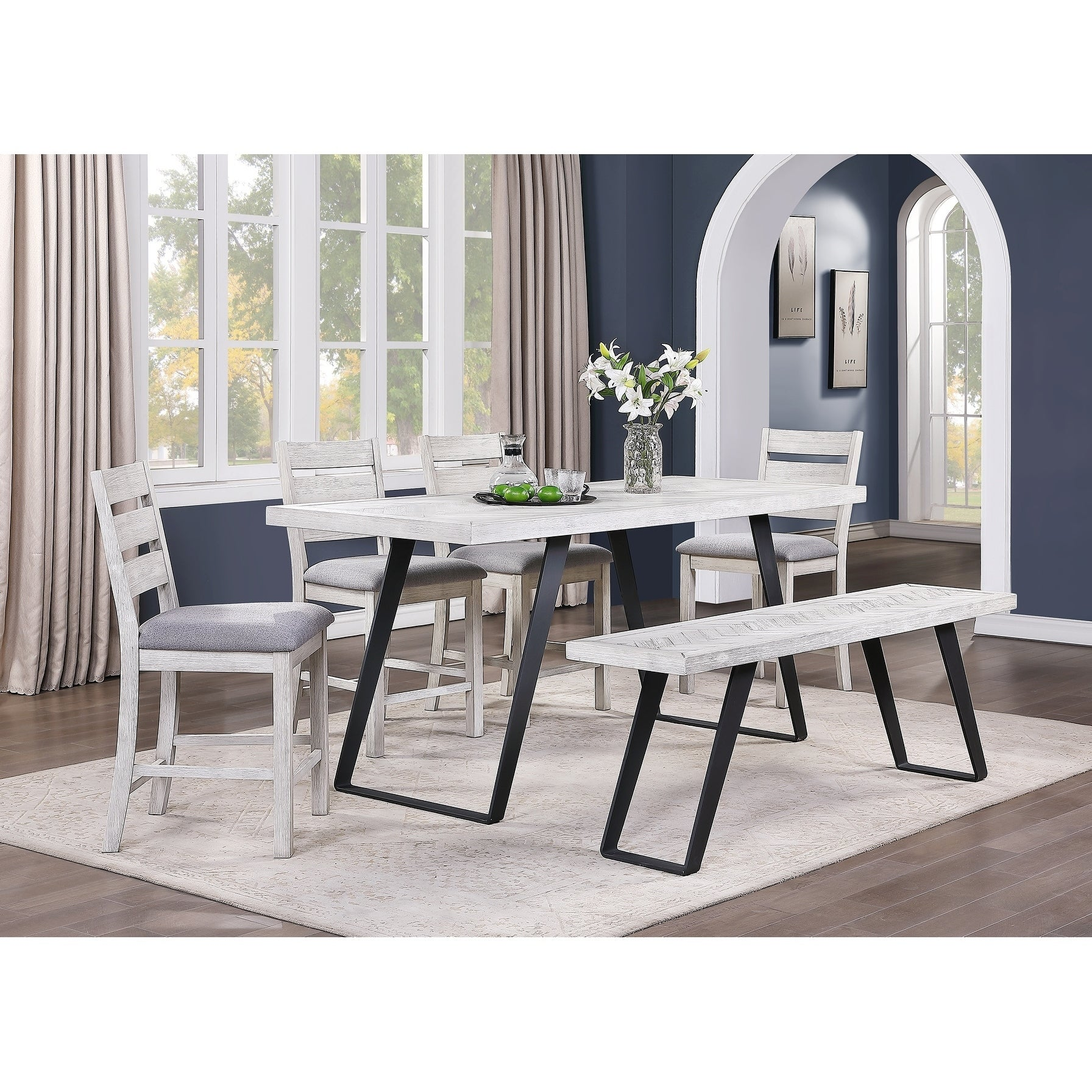 Somette Aspen Court Ii Herringbone White Rub Counter Height Dining Table 34 W X 80 L X 36 H Overstock 30394677