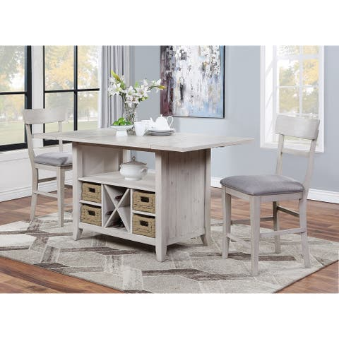"""Somette Santa Clara Putty Drop Leaf Counter Height Dining Table - 36""""W x 66""""L x 36""""H"""