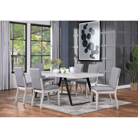 "Somette Aspen Court II Herringbone White Rub Dining Table - 40""W x 80""L x 30""H"