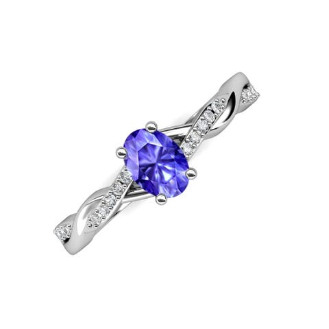 Trijewels Oval Cut Tanzanite & Diamond 1 1/6 ctw Twist Ring 14KW Gold