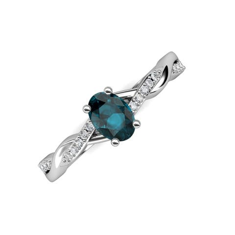 Trijewels London Blue Topaz & Diamond 1 1/6 ctw Twist Ring 14KW Gold