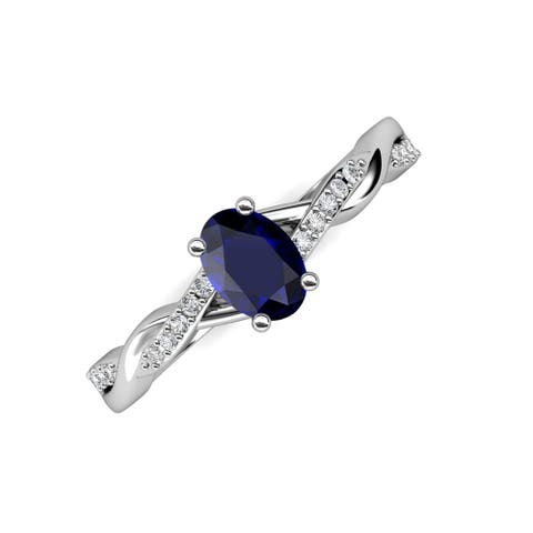 Trijewels Oval Blue Sapphire & Diamond 1 1/10 ctw Twist Ring 14KW Gold