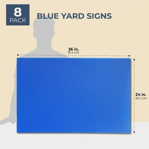 """8-Pack Blank Corrugated Plastic Yard Lawn Signs Sheets Board, Blue, 24x36"""""""