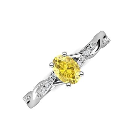 Trijewels Oval Yellow Sapphire Diamond 1 1/10 ctw Twist Ring 14KW Gold