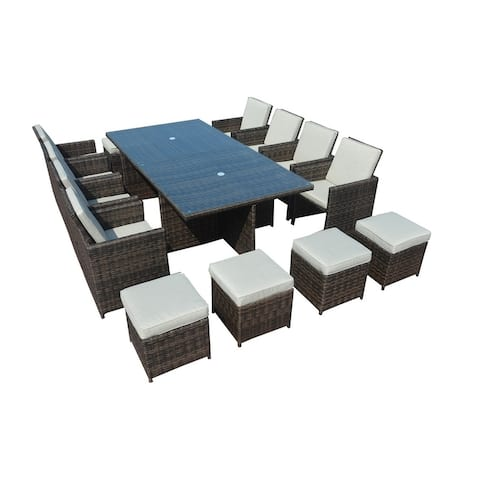 Direct Wicker 18-piece Table Chair Party Set with Cushions - N/A