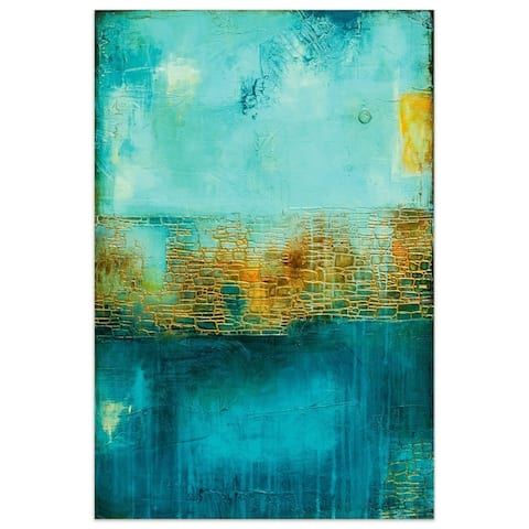 """Castle Court"" Abstract Wall Art on Frameless Tempered Art Glass"