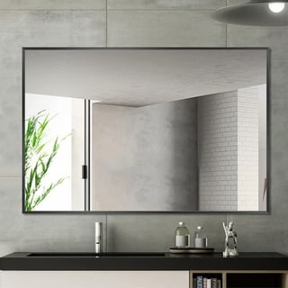Carbon Loft Aluminum Alloy Frame Rectangular Wall-mounted Bathroom Mirror - 36''x24''x2''