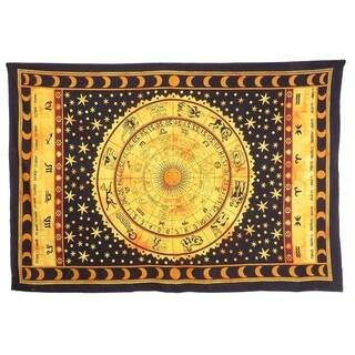 Zodiac Mandala Tapestry Hippie Dorm Decor Indian Handmade Tapestries Astrology Celtic Horoscope Tapestry Wall Hanging