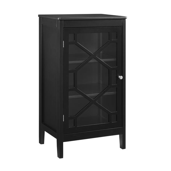 Transitional Wood and Glass Cabinet with Three Shelves, Small, Black