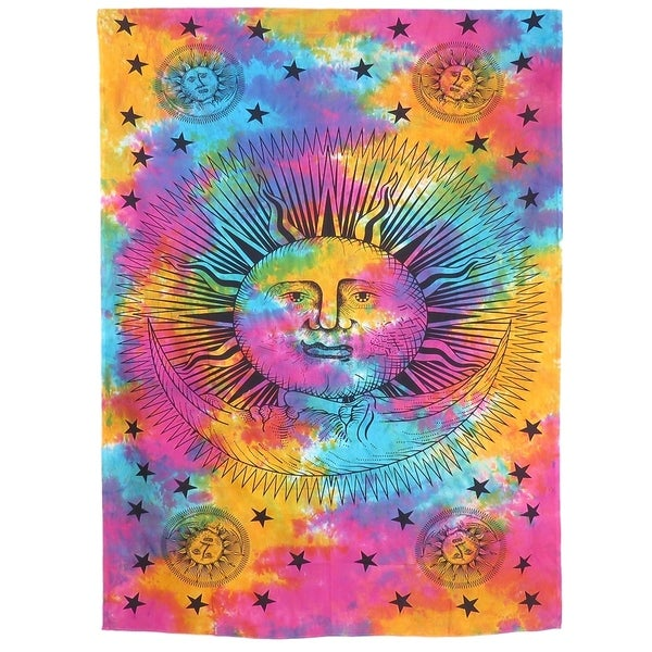 Indian Tie Dye Mandala Tapestry Hippie Throw Bedspread Dorm Decor Bohemian Bedding Psychedelic Tapestry