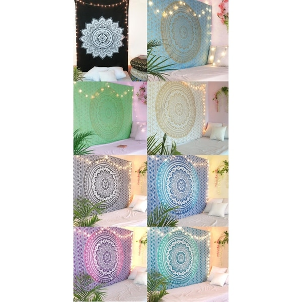 Mandala Style Hippie Psychedlic Tapestry Dorm Room Wall Hanging Bedspread Home Decor