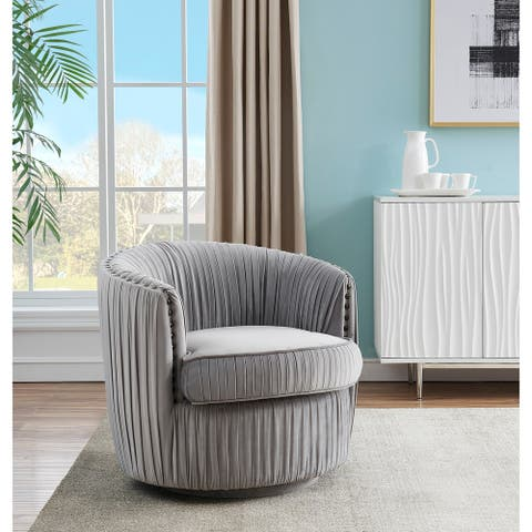 "Somette Lazy Days Soft Grey Swivel Accent Chair - 31""L x 30""W x 28""H"