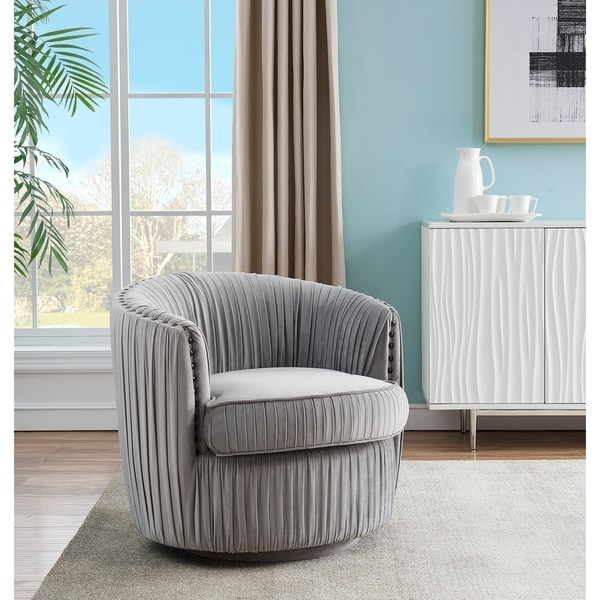 """Somette Lazy Days Soft Grey Swivel Accent Chair - 31""""L x 30""""W x 28""""H. Opens flyout."""