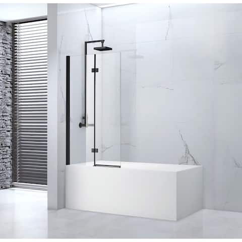 "Tidy 55"" x 39"" Frameless Bi-Fold Tub Door in Black"