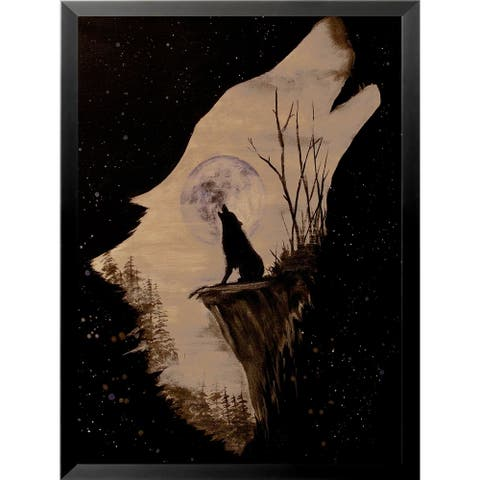 FRAMED Wolf Howling at the Moon by Ed Capeau Art Painting Reproduction