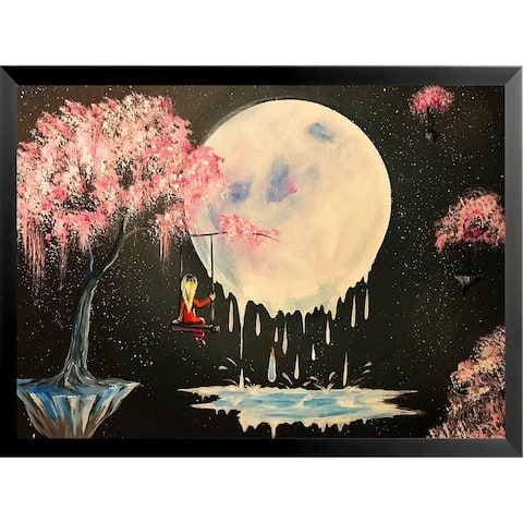 FRAMED Tree Swing Melty Moon by Ed Capeau Art Painting Reproduction