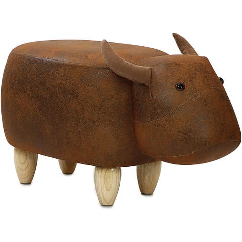 Taylor & Olive Brown Cow Ottoman - N/A