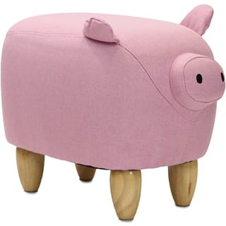 """Critter Sitters 15"""" Seat Height Animal Shape Ottoman Furniture for Nursery, Bedroom, Playroom & Living Room Decor (Pink Pig)"""