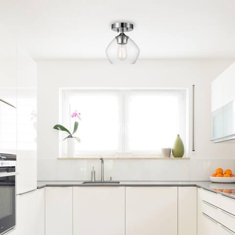 Porch & Den Rockwood Chrome 1-light Semi-flush Mount Ceiling Light