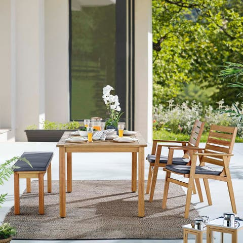 Syracuse Outdoor Patio Eucalyptus Wood Dining Set with Accent Bench and 2 Dining Chairs