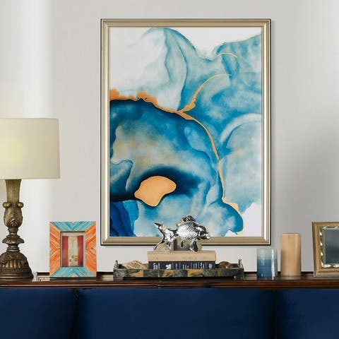 Strick & Bolton Abstract Blue/ Yellow Watercolor Art in Wood Frame