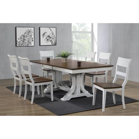 The Gray Barn Spinney 7-piece Art Deco Dining Set in Distressed Cocoa Brown and Cotton White