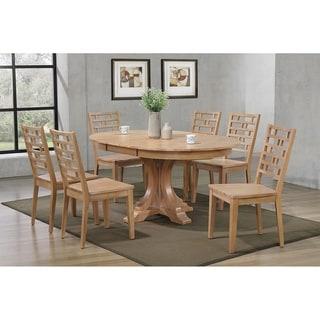 "Iconic Furniture Co 45""x45""x63"" Deco Hampton Beech Designer Back Chairs (7-Piece Dining Set)"